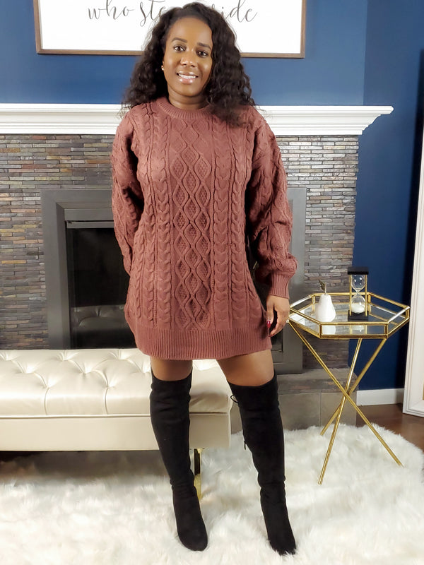 Love Me Like That Sweater Dress - Rose Brown
