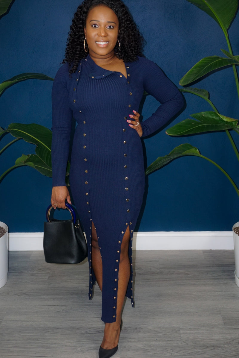 Oh Snap Dress- Navy