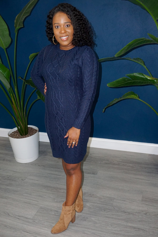 Easy For Me Sweater Dress- Blue