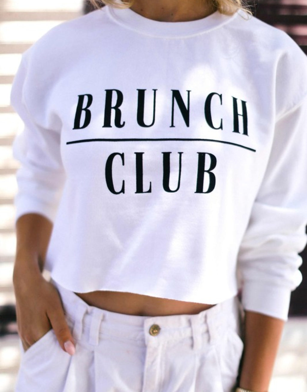 Brunch Club Crop - White
