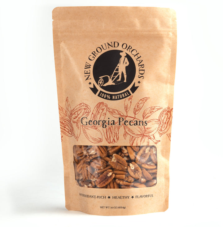 Healthy, flavorful Georgia Pecans in resealable bag