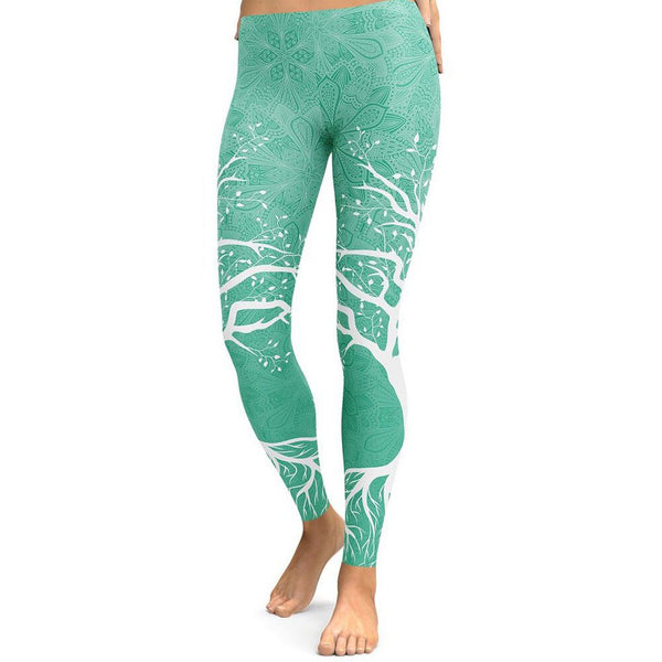 Womens Double Tree Print Leggings - millennial-fashion-hub