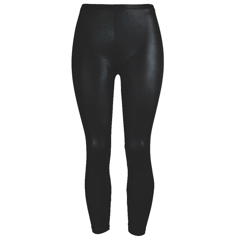 Womens Stretch Faux Leather Mid Waist Leggings - millennial-fashion-hub