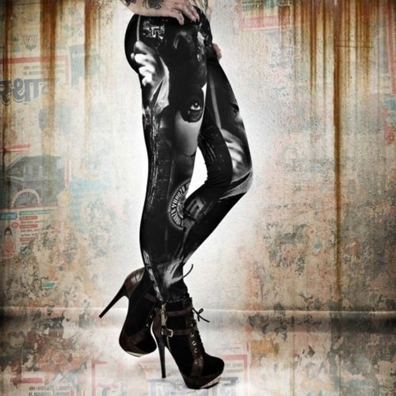 Womens Gothic Print Leggings - millennial-fashion-hub