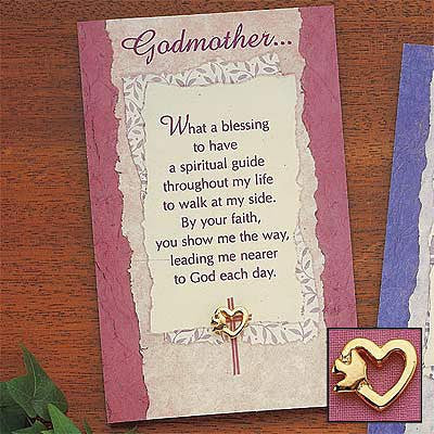 Godparent pin and card set 08135