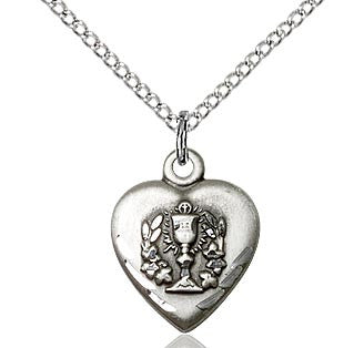 First Communion Heart Chalice Pendant  0892
