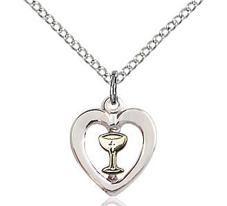 First Communion Heart Chalice Pendant 3148