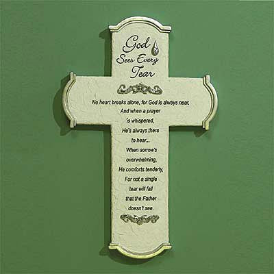 """God Sees Every Tear"" Wall Cross and Gift Card"