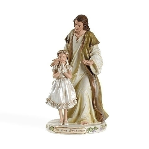 Statue of Jesus with First Communion Girl