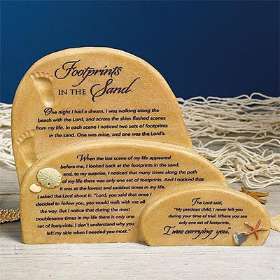 """Footprints in the Sand"" Sitter Plaque (Available in store only.)"