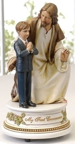 Musical Statue of Jesus With First Communion Boy