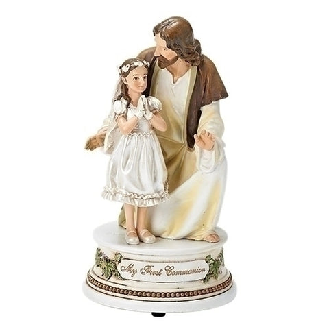 Statue of Jesus with First Communion Girl Musical
