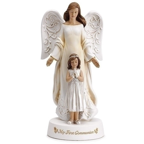 Statue of First Communion Girl with Guardian Angel