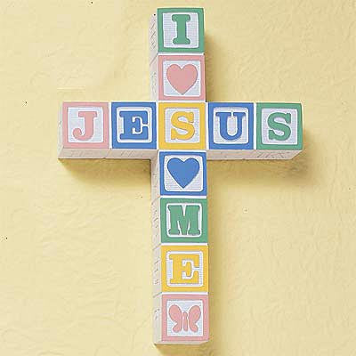 """I Love Jesus"" ABC Block Wall Cross--Pastel"