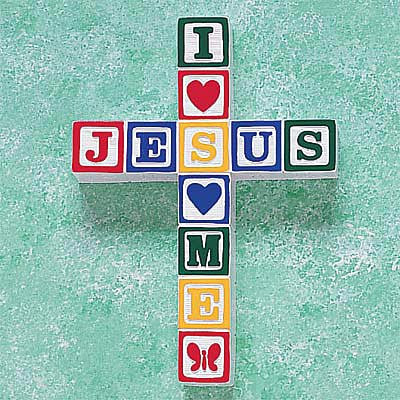 """I Love Jesus"" ABC Block Wall Cross--Primary Colors  (Available in store only.)"