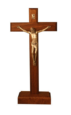 CX 256B Natural Red Wood Standing Crucifix