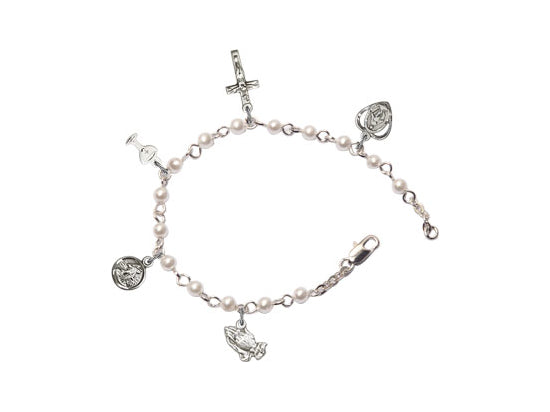 First Communion Jewelry  Silver Pearl Charm Bracelet