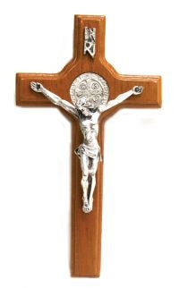 St. Benedict Light Wood Hanging Crucifix