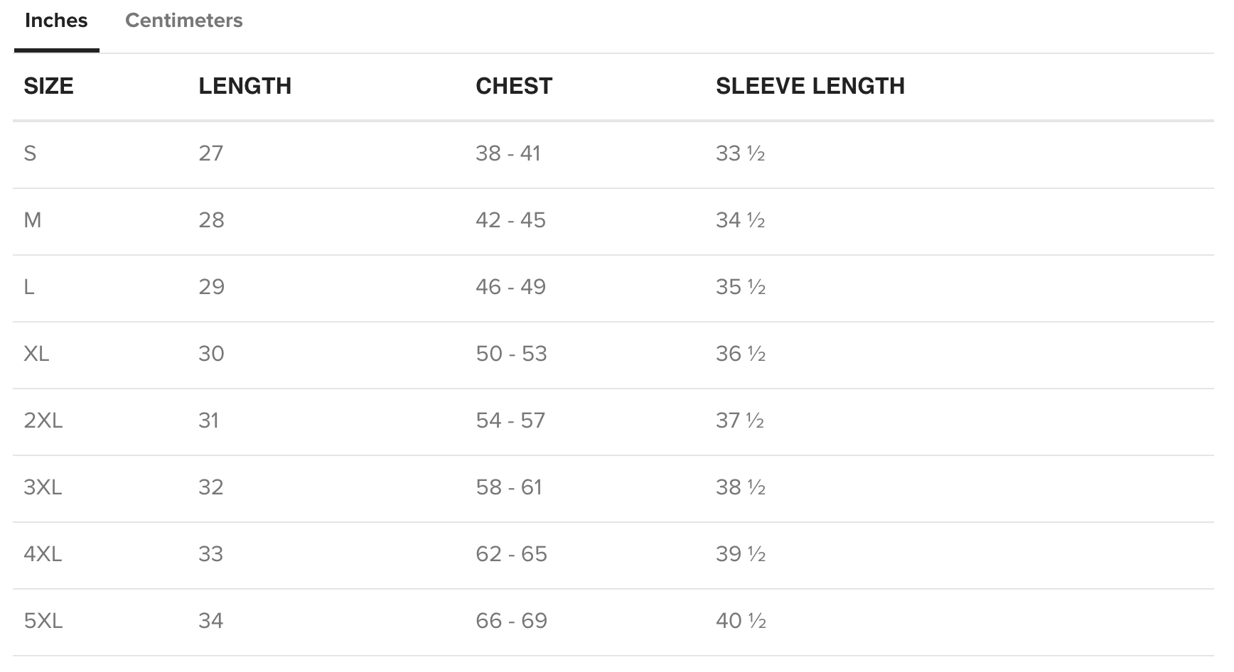 US Sweatshirt Size Chart in inches