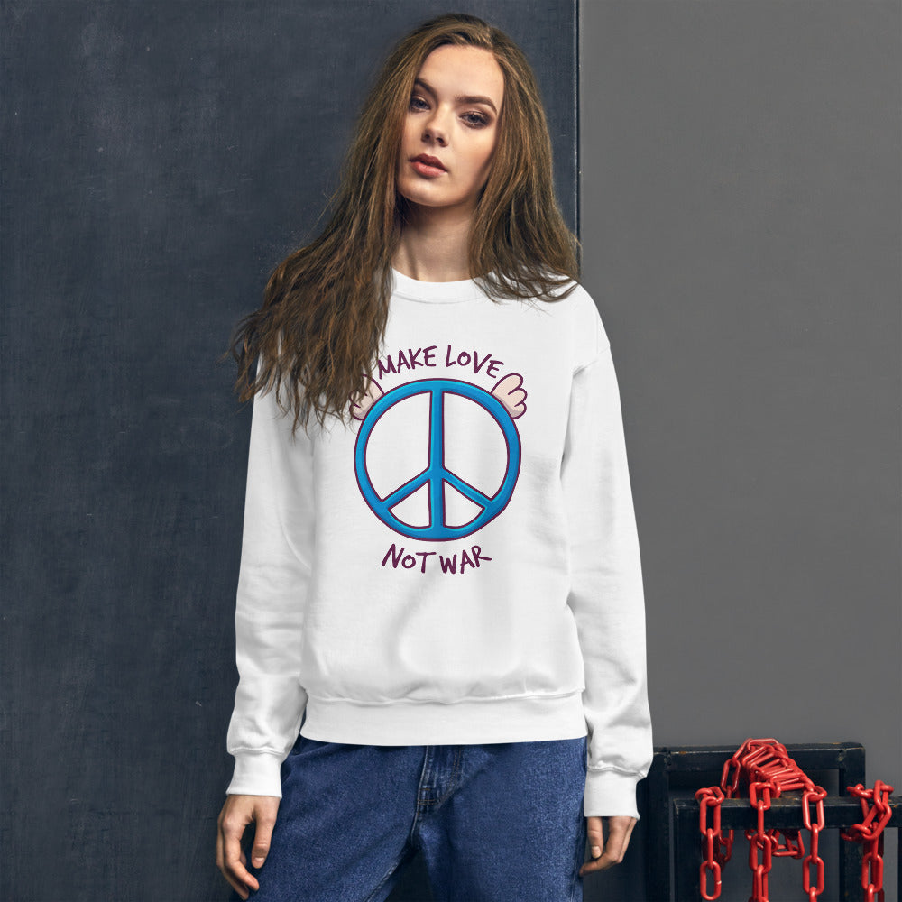 Make Love, Not War Sweatshirt | White Peace Day Slogan Sweatshirt