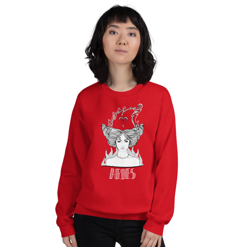 Aries Sweatshirt | Red Crewneck Aries Zodiac Pullover