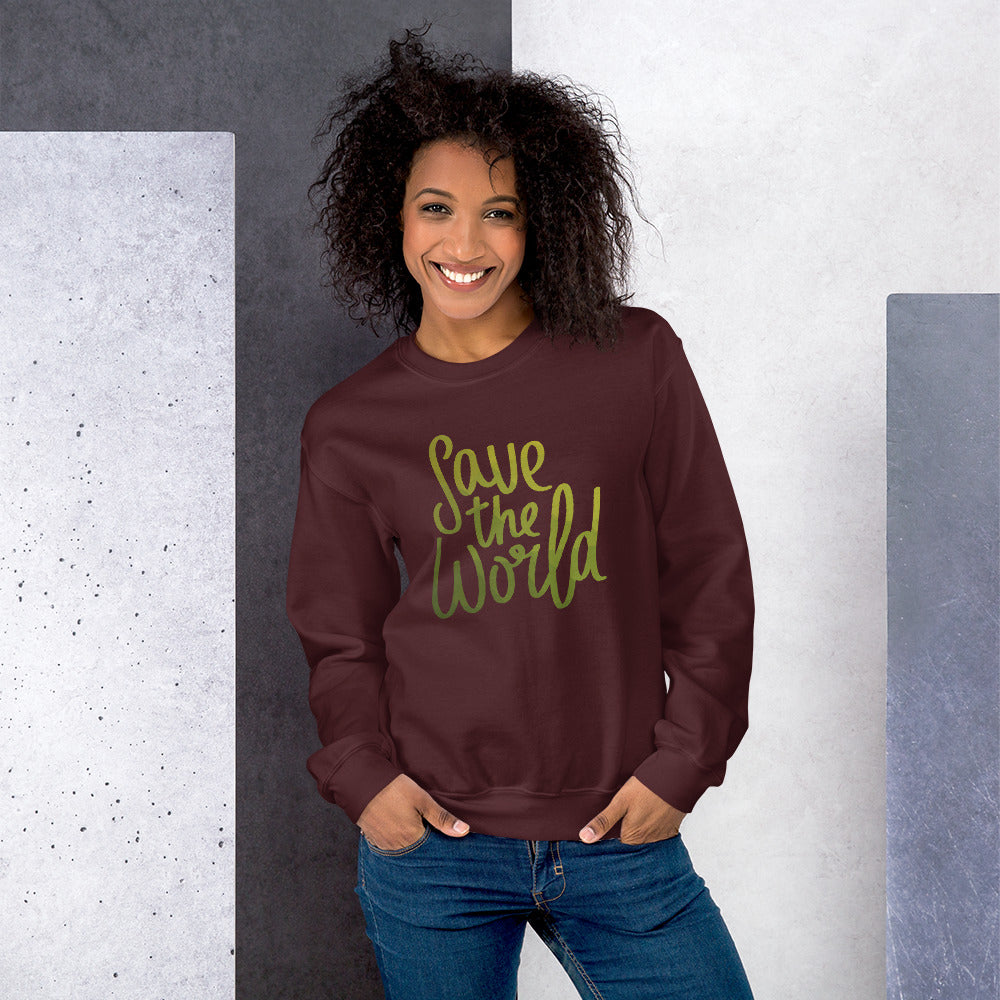 Save The World Crewneck Sweatshirt for Women
