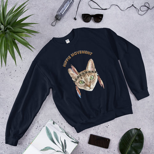 Hippie Cat Movement Meme Crewneck Sweatshirt