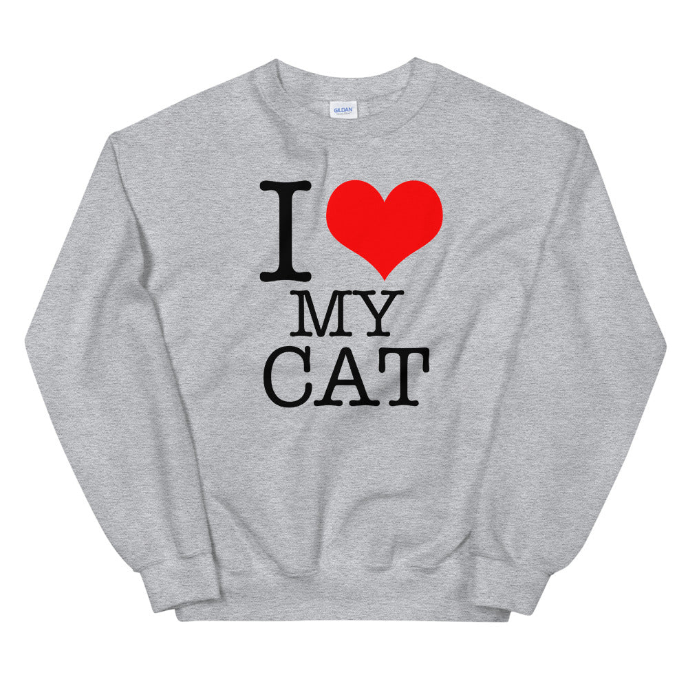 I Love My Cat Sweatshirt | Grey Pet Lover Sweatshirt for Women
