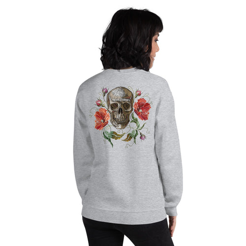 Rose Skull Sweatshirt | Grey Skull with Roses Sweatshirt for Women