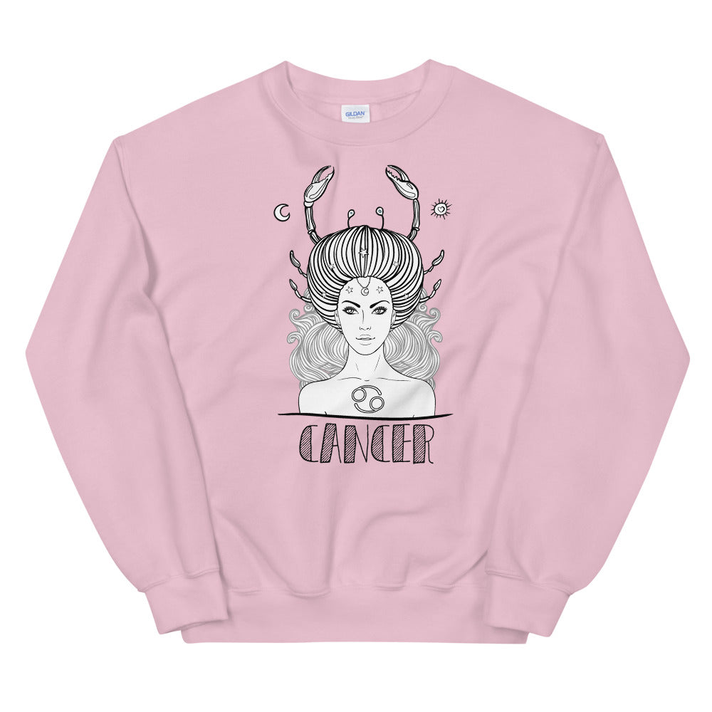 Cancer Sweatshirt | Pink Crewneck Cancer Zodiac Sweatshirt