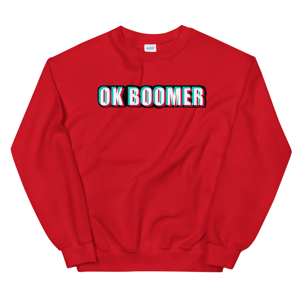 Ok Boomer Sweatshirt | Red Ok Boomer Meme Sweatshirt for Women