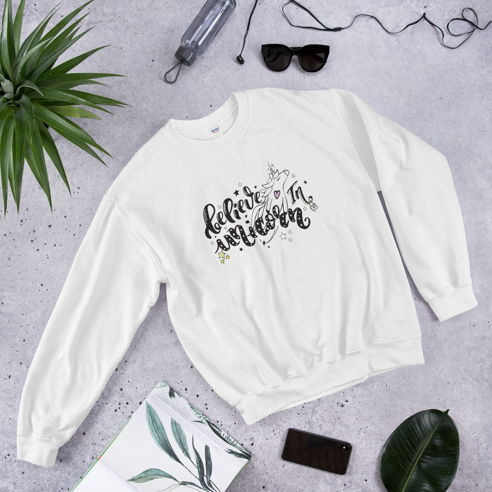 Believe in Unicorn Crewneck Sweatshirt for Women