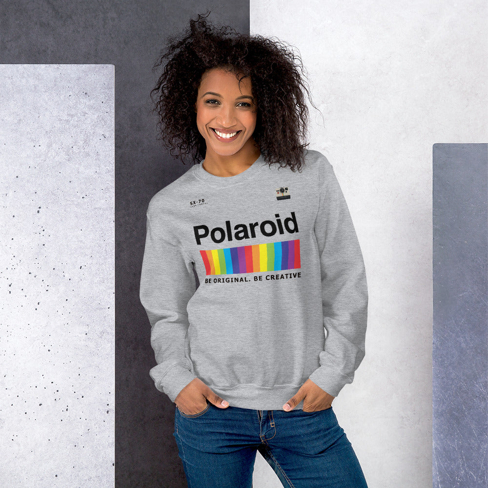 Polaroid Sweatshirt | Grey Crew Neck Rainbow Polaroid Logo Sweatshirt for Women