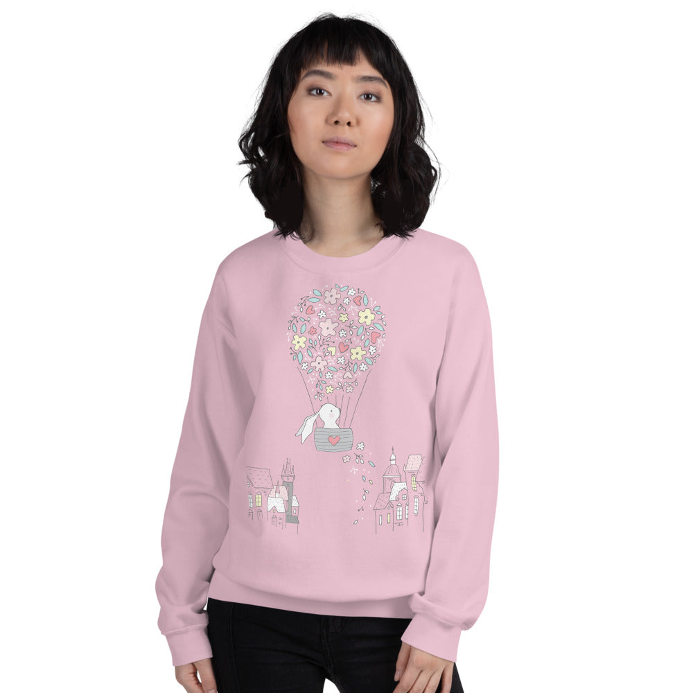 Cute Bunny Air Balloon Crewneck Sweatshirt for Women
