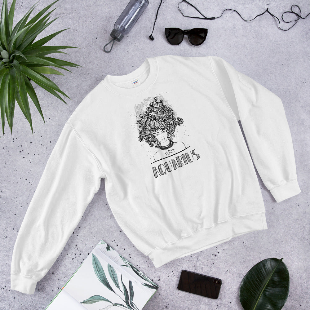 Aquarius  Sweatshirt | White Crewneck Aquarius Zodiac Sweatshirt