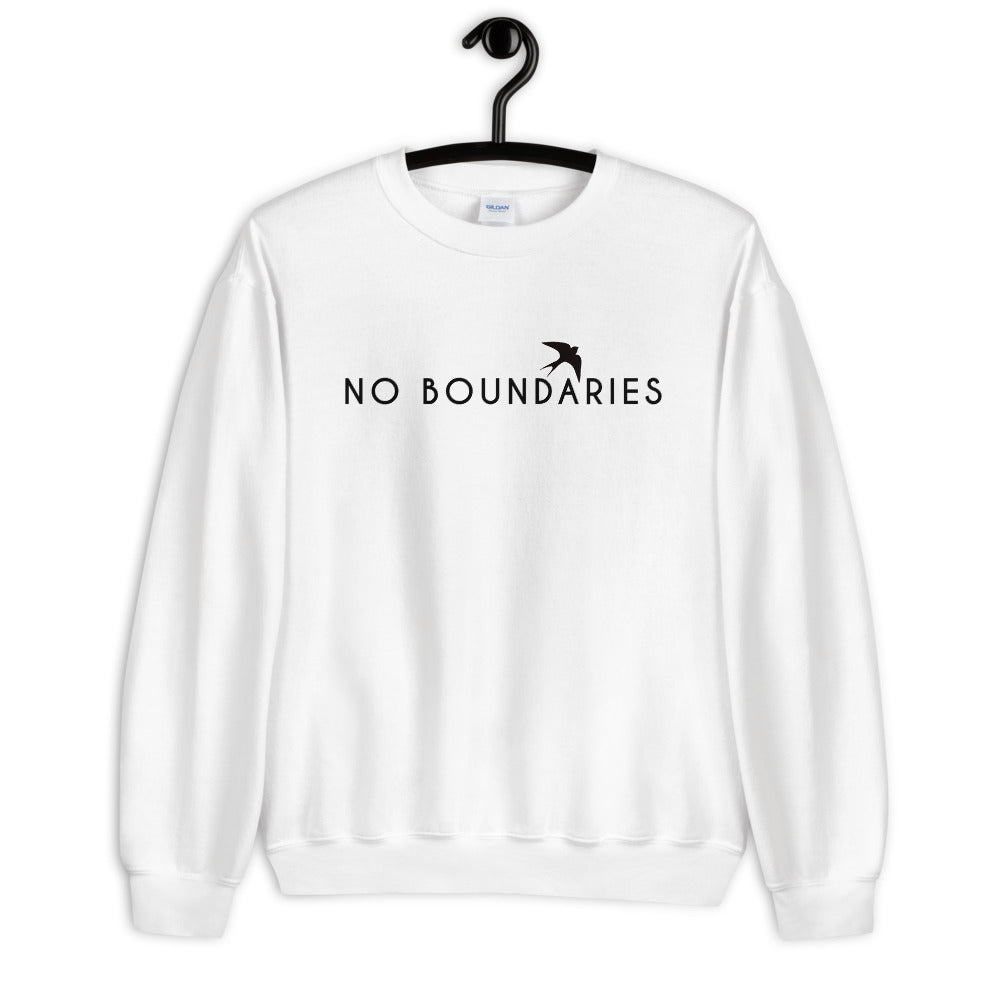 No Boundaries Sweatshirt | White Motivational Crew Neck Sweatshirt