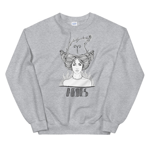 Aries Sweatshirt | Grey Crewneck Aries Zodiac Sweatshirt