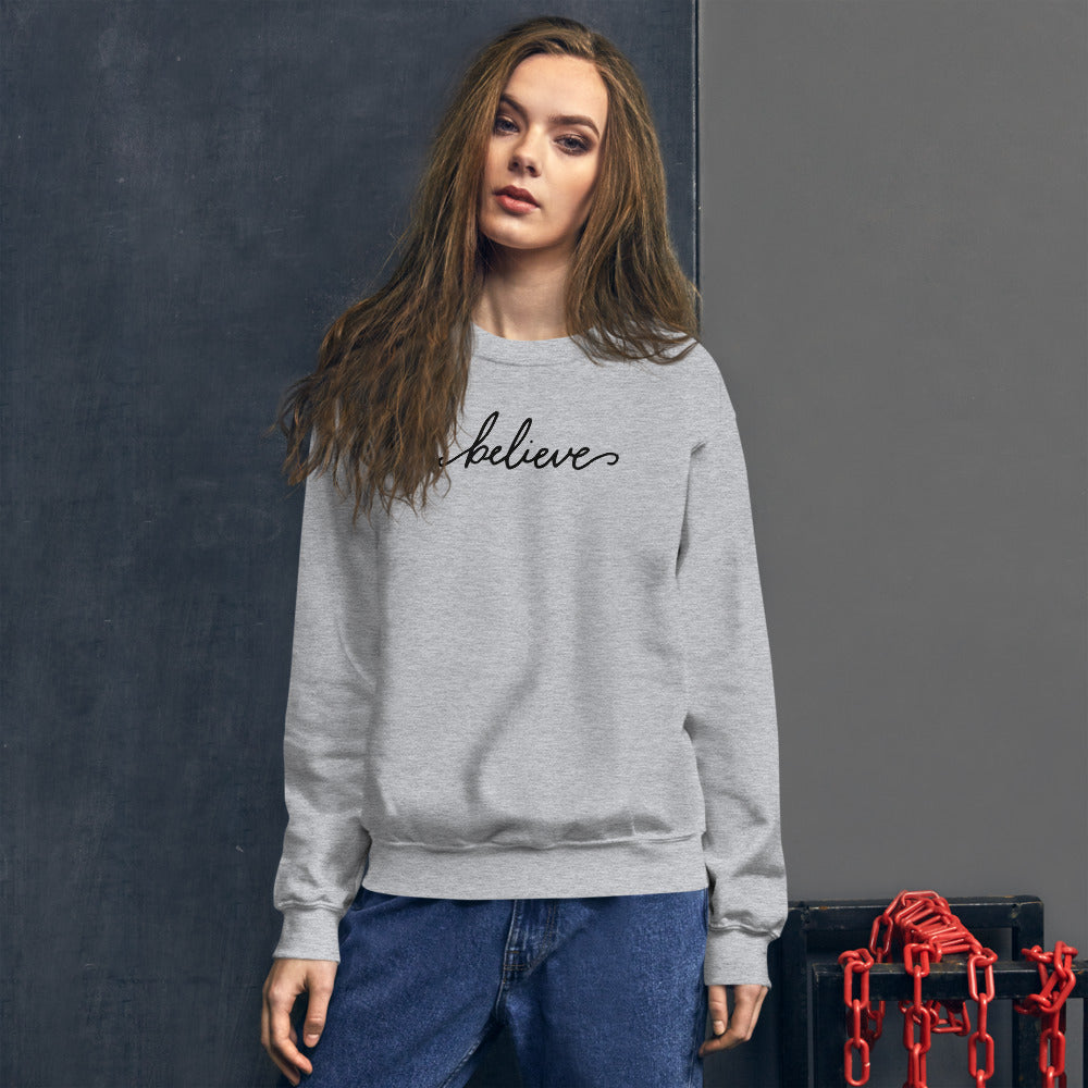 Believe Sweatshirt | Grey One Word Believe Sweatshirt for Women