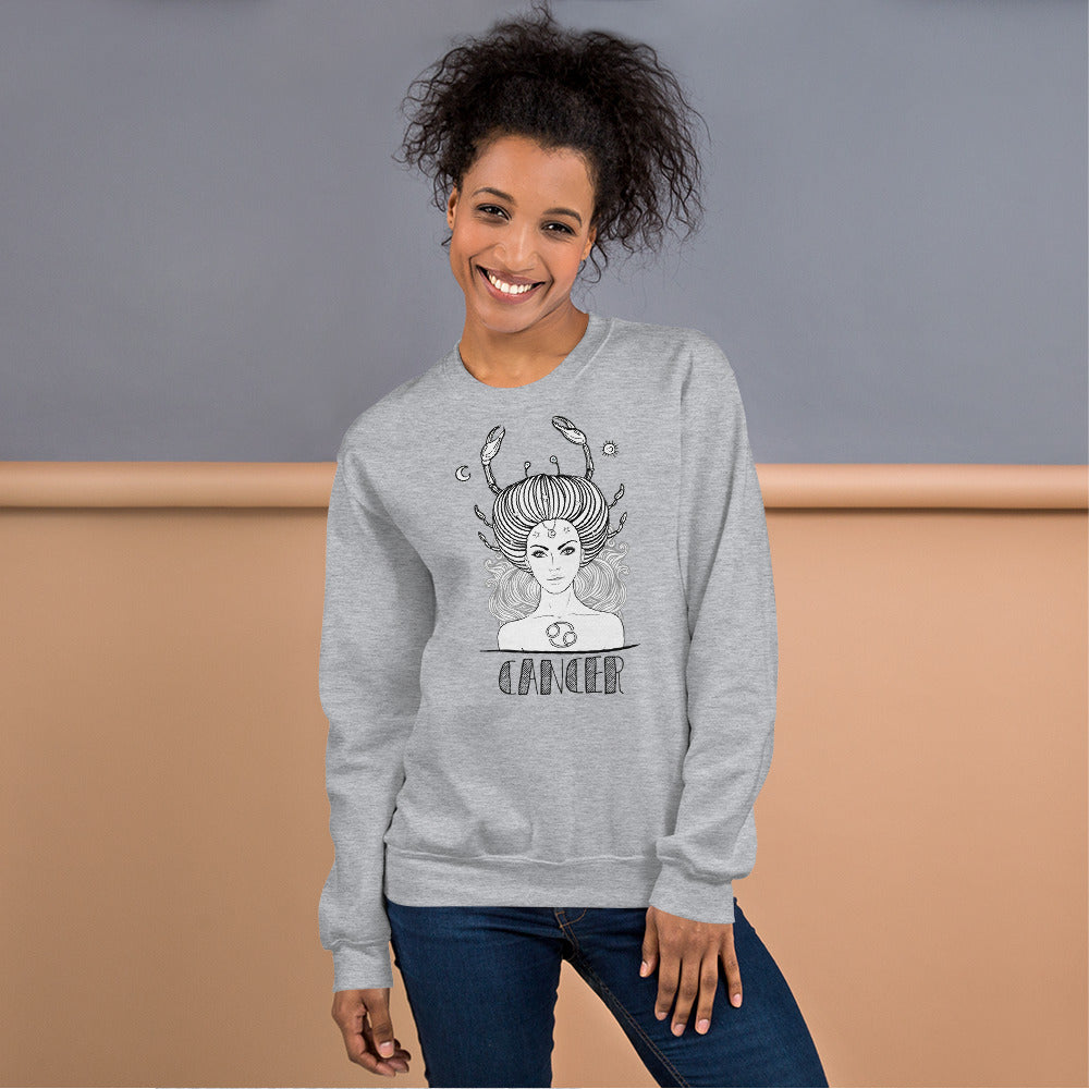 Cancer Sweatshirt | Grey Crewneck Cancer Zodiac Sweatshirt