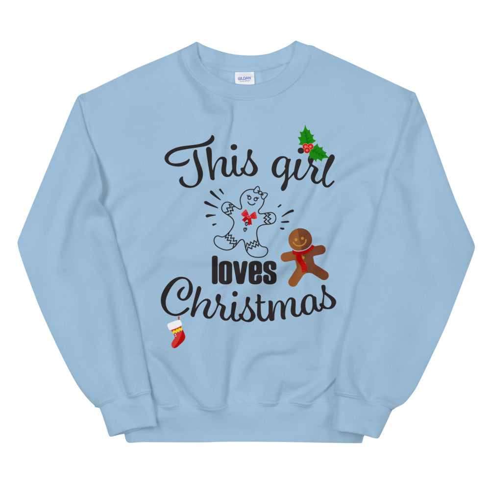This Girl Loves Christmas Crewneck Sweatshirt for Ladies