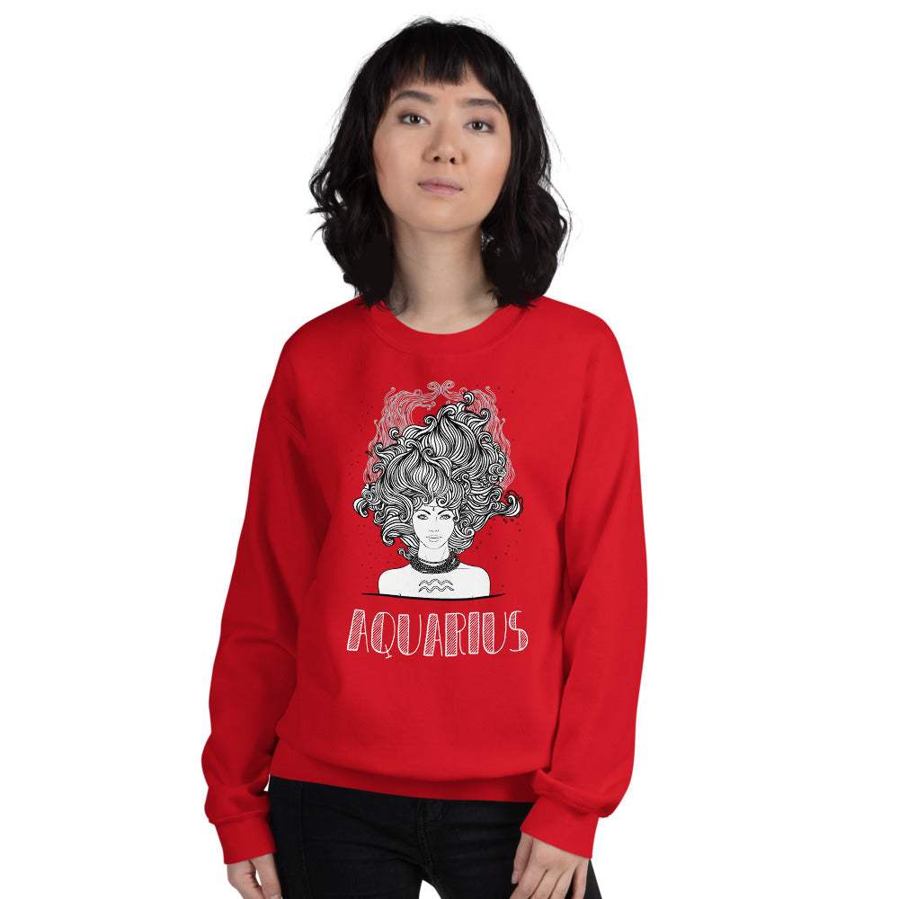 Red Aquarius Sweatshirt - Zodiac Astrology Horoscope Pullover Crewneck