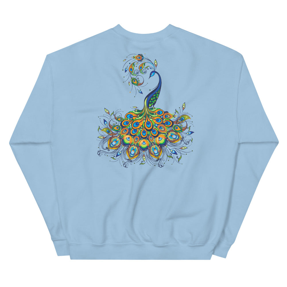 Peacock Sweatshirt | Back Peacock Graphic Printed Sweatshirt