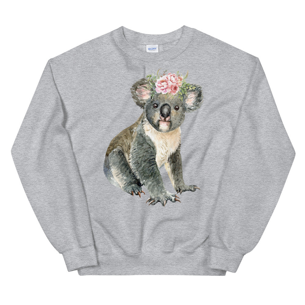 Cute Baby Koala Bear Sweatshirt in Grey Color for Women
