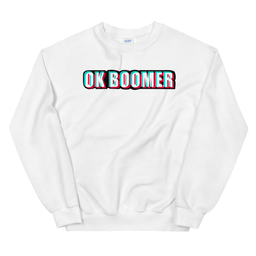 White Ok Boomer Pullover Crewneck Sweatshirt for Women