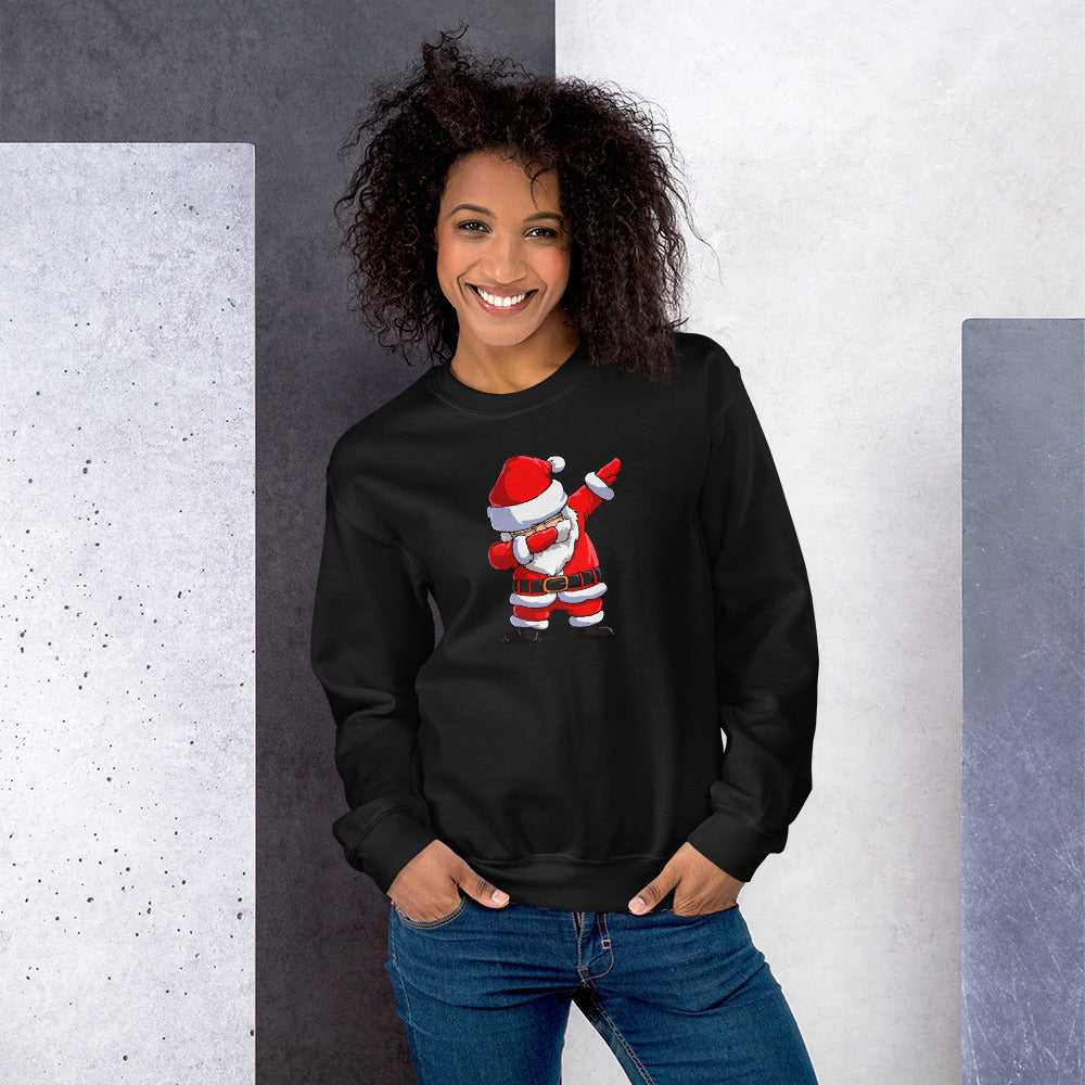 Dab Santa Sweatshirt | Black Dabbing Santa Sweatshirt for Women