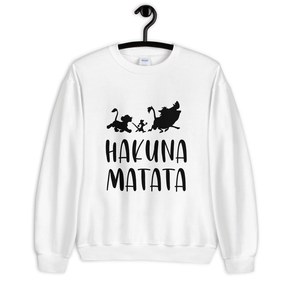 Hakuna Matata Sweatshirt | White Lion King Hakuna Matata Crew Neck for Women