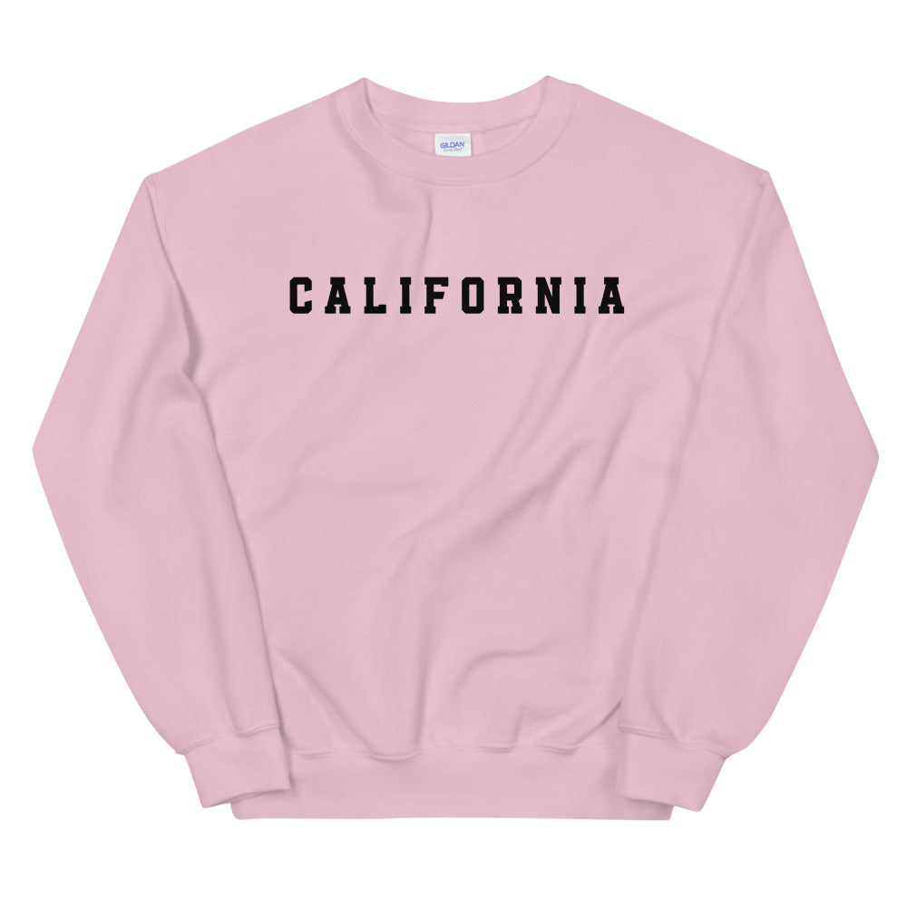California Sweatshirt | Pink Crew Neck College Sweatshirt