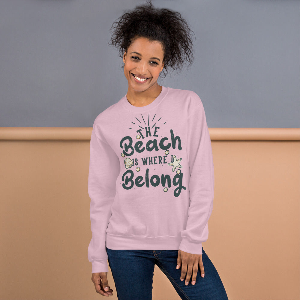 The Beach is Where I Belong Sweatshirt for Women in Pink Color