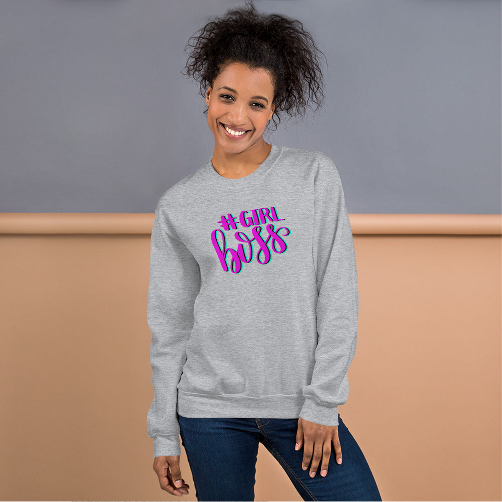 Girl Boss Sweatshirt | Grey Hashtag Girl Boss Sweatshirt for Women