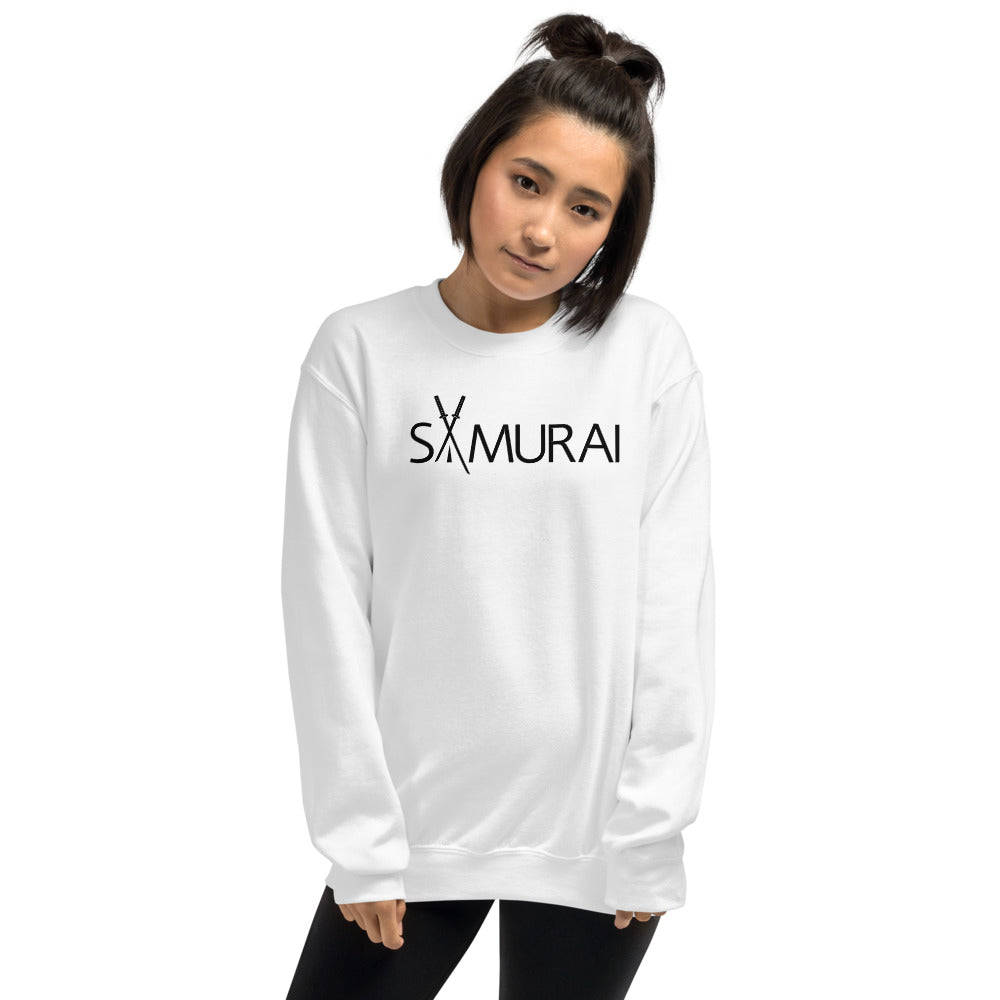 White Samurai Pullover Crewneck Sweatshirt for Women